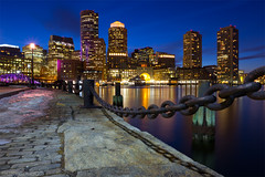 Dusk Light with Clouds over Boston Skyline and Harbor, Fan Pier South Boston (Greg DuBois Photography) Tags: ocean city longexposure nightphotography pink blue sea urban usa reflection water beautiful yellow boston skyline night clouds canon boats photography gold twilight dock lowlight cityscape unitedstates dusk massachusetts newengland wideangle chain cobblestone bluehour southboston fortpointchannel bostonskyline waterscape bostonharbor fanpier seaportdistrict bostonphotography nauticalchain fanpierplaza gregdubois gregduboisboston