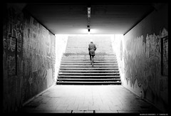 20140315 (mkniebes) Tags: city urban blackandwhite stairs contrast germany underpass subway grafiti tunnel schwarzweiss bochum voigtländernokton1435mm