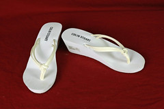 Size 7 White Colin Stuart Sandals (Fanta_Productions) Tags: sandals whiteshoes wedgeheels thongsandals colinstuart wedgesandals giftedshoes
