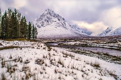 Buachaille Etive Mor in the Snow (Bathsheba 1) Tags: uk trees winter light sky snow mountains reflection nature water clouds reflections river landscape geotagged scotland daylight highlands nikon scenery rocks day colours view scenic dramatic escocia glencoe naturalbe