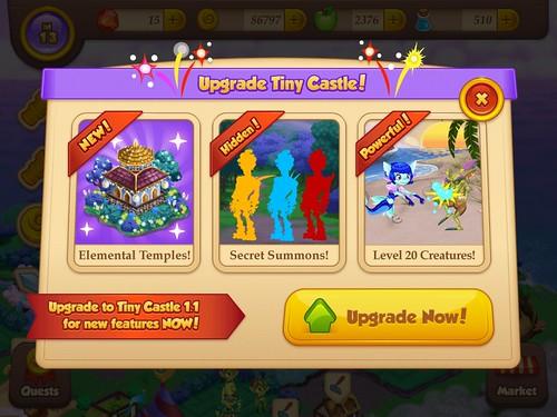 Tiny Castle Update App: screenshots, UI