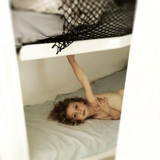 Daisy on the bottom bunk.