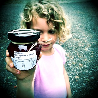 DB and loganberry jam. Expensive loganberry jam.