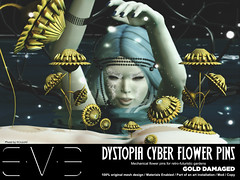 Dystopia Cyber Flower Pins Gold Damaged (eve.studio (Noke Yuitza)) Tags: eve vintage illumination secondlife sunflower lea shortstory tale cyberpunk steampunk dystopia pinsandneedles retrofuturistic we3rp roquai