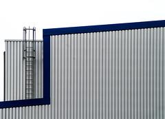 minimal urban industrial II (Lunor 61) Tags: city blue urban abstract building lines metal architecture facade grey grau minimal architektur blau fassade abstrakt linien minimalismus