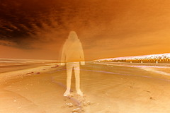 Ghost at the beach (negative image) (tschl) Tags: beach strand nikon exposure ghost playa geist fantasma overtheshot d3100