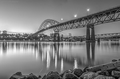 Pattullo Bridge B&W (maestro17ca) Tags: park longexposure nightphotography bridge blackandwhite skyline architecture river lights waterfront view britishcolumbia surrey vista fraserriver hdr newwestminster landscapephotography pattullobridge brownsvillebar tokina1116mm28 nikond7000