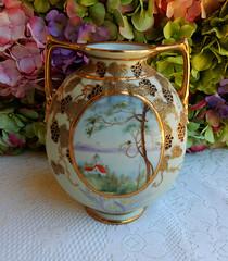 Nippon Porcelain Vase ~ Hand Painted Landscape Grapes Gold (Donna's Collectables) Tags: landscape gold hand painted grapes vase nippon porcelain ~
