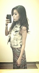 Mirror Selfie. (Mandi Albert) Tags: cute summerdress curlyhair selfie hairdown seriousface jeanvest mirrorselfie mandialbert mandistargirl