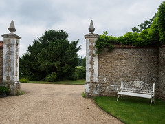 Loseley House and Grounds E6220407_137 (tony.rummery) Tags: england gardens bench gate unitedkingdom olympus gb statelyhome godalming omd loseley historichouse em10 mft microfourthirds boroughofguildford