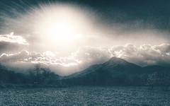 Let the sun shine (VillaRhapsody) Tags: light bw sun mountain monochrome field rural landscape spring rays fethiye kayaky