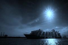 Harmony...lit by God. (The Image Den) Tags: monochrome hampshire cruiseship southampton southcoast southamptonwater harmonyoftheseas