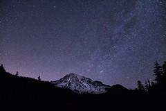 Mt. Rainier - Night (2.OS.GS.4) Tags: longexposure nightphotography mountain nature beautiful night stars washington nationalpark rainier naturalwonder mtrainier pnw
