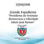 Grande Expediente - Apresenta��o do presidente do Instituto Democracia e Liberdade, Edson Jos� Ramon.
