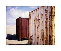 rusty containers (ha*voc) Tags: film beach mediumformat rusty rangefinder 6x7 katwijk 220 80mm urbanfragments fujiprovia100 mamiya7ii urbanabstraction