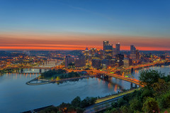 That View Though (Brad Truxell) Tags: city sunrise spring pittsburgh bridges rivers hdr threerivers mountwashington sigma1020mm nikond7000