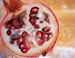 P is for Pomegranate. (Elements That Surprise) Tags: fruit fruity apple apples pomegranate experimental exciting submerged sparkling water bubbles colourful food yum yummy lumix gx7 panasonic