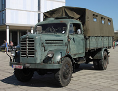 B555A (The Rubberbandman) Tags: world old horse green classic truck work vintage germany army box military transport engine meeting goods relief lorry civil german disaster vehicle bremen emergency defense defence freight flatbed lastwagen borgward bundeswehr lkw laster classica katastrophenschutz b555 b555a