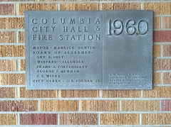 Columbia Mississippi City Hall and Fire Station plaque. 1960 R.W. Naef F.A.I.A. Archt. (JRR2000) Tags: plaque mississippi cityhall masonry columbia architect firestation redbrick aia 1960 yellowbrick faia brickdetail rwnaef mixcolorbrick combfacebrick