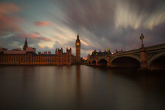 Big Ben (mclcbooks) Tags: uk longexposure greatbritain bridge sunset england sky building london tower westminster thames architecture clouds reflections river landscape evening cityscape unitedkingdom housesofparliament bigben le