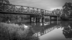 Swing Bridge over the Latrobe River (phunnyfotos) Tags: phunnyfotos australia victoria vic bridge gippsland longford sale latroberiver swingbridge 1880 1883 openablebridge reflection reflections river water johngrainger engineering heritage history historic nikon d750 nikond750 mono bw monotone