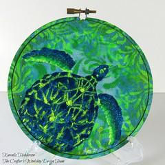 Sea Turtle Embroidery Hoop (Karenlizh) Tags: thecraftersworkshop stencils nautilus octopus embroidery hoop modeling paste