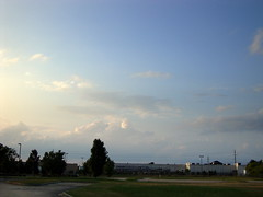Big Sky Above Lowe's. (dccradio) Tags: trees summer sky tree grass clouds evening nc lawn northcarolina bluesky walmart greenery bigsky lowes lumberton summerwalk robesoncounty independencedrive