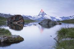 Sunrise at Stellisee (vladimir.vozdvizhenskiy) Tags: morning mountain lake alps reflection landscape outdoors switzerland rocks suisse zermatt matterhorn cervin sundawn fluhalp