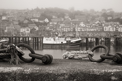 Sea mist.... (AJFpicturestore) Tags: monochrome boats blackwhite fishing cornwall fuji seamist newlyn xpro1