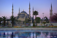 Blue Mosque in the purple morning (HDR) (Stephan Neven) Tags: morning turkey purple istanbul bluemosque six hdr minarets sultanahmedmosque