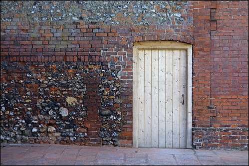Wooden door in a wall