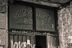 The Sunshine Shop (The New Motive Power) Tags: city urban building window sign shop graffiti sofia decay doorway bulgaria   canon7d sunshineshop