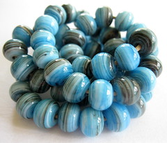 Sand and Surf Lampwork Beads SRA (Beth Singleton) Tags: blue sea beach glass beads aqua handmade turquoise lampwork artisan striated sra sandandsurf silveredivory bethsingleton