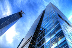 Blue on Blue (jrseikaly) Tags: world new york city nyc blue sky ny building tower jack one freedom downtown center trade goldman hdr sachs seikaly jrseikaly