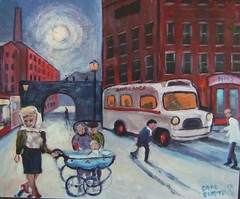 The Hospital My painting (Captain Wakefield) Tags: road woman baby art english night hospital painting town cityscape nightscape cartoon british northern samuel pram burton ambalance
