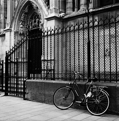 Lean on Nortre Dame (Purple Field) Tags: street bw paris france 120 6x6 tlr film monochrome bicycle analog rolleiflex square alley kodak trix 400tx medium   f28  schneider kreuznach  80mm    28f  xenotar        stphotographia x
