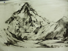 Landscape Mountains (SsavvasS) Tags: art nature ink print landscape etching rocks monoprint engraving printmaking prints fabriano academic durer copies finearts romanticism gravure dramaticlandscape charbonnel