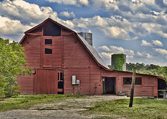 THE OLD RED BARN (NC Cigany) Tags: red color abandoned clouds rural farm silos 1731 20130520