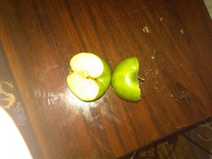 IMG_20130609_002929 (Ahmed AlHallak) Tags: 2 green apple stem with seeds half connected sliced stalk تفاح أخضر قرن بذور مقسوم بالنصف