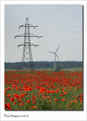 Poppy Field (Paul Simpson Photography) Tags: uk flowers red england nature windmill sunshine energy power farm farmland pylon poppies electricity naturalworld windfarm poppyfield photosof photoof dragonby imagesof paulsimpsonphotography