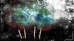 FIRST IMPRESSION (USA FIREWORKS) (Bruno LaLibert) Tags: city bridge texture photoshop fireworks montreal fujifilm jacquescartierbridge 2013 skeletalmess brunolalibert