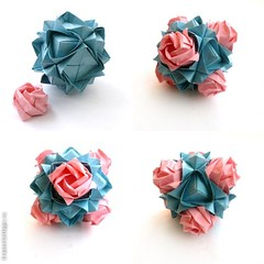 Lotus and Roses (Uniya.F) Tags: origami kusudama toshikazukawasaki origamirose mariasinayskaya