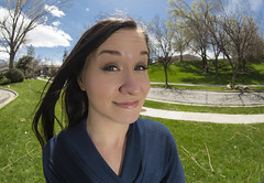 Are you in my face? (Flickr_Rick) Tags: hello woman cute outside spring fisheye brunette breanne