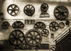 Wall of Cogs (bvi4092) Tags: circle gears nikon d300s photoshop wales nikon18105mmf3556 18105mmf3556 blackandwhite bw cogs stilllife nationalslatemuseum museum nikkor travel uk unitedkingdom
