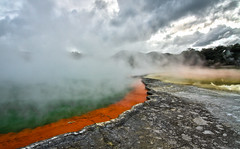 Champagne Pool (Xuberant Noodle) Tags: new orange color green pool volcano colorful champagne zealand sulphur sulfur volcanic geothermal hdr
