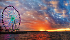 Fall Sunset on the Pier | Seattle, WA (sublimephotography.ca) Tags: seattle sunset sky colors clouds landscape pier mood ferriswheel sublimephotography lympusmanfrotto
