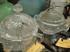 "ASSORTED PRESSED GLASS CANDY DISHES WITH COVERS. • <a style=""font-size:0.8em;"" href=""http://www.flickr.com/photos/51721355@N02/11120941996/"" target=""_blank"">View on Flickr</a>"