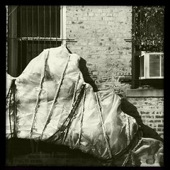 (Joie de Vivre) Tags: blackandwhite brick window wall wrapped rope plastic airconditioner iphone hipstamatic