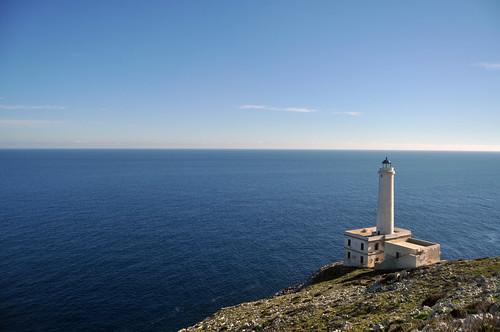 blue sea lighthouse white faro rocks mare blu otranto... (Photo: sinetempore on Flickr)
