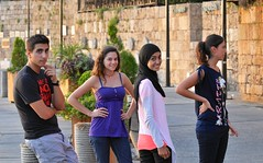 Cast members Ali Bazzi, Gisele Seif, Layan Rakka and Nisrine Hammoud in Byblos, Lebanon.
